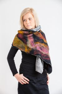 Nuno felted scarf, cotton, wool
