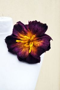 Felted flower, silk and merino wool