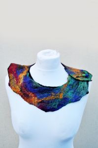 Felted necklace, collar, silk and merino wool